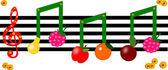 Фрукты, как отмечает на музыкальный рисунок — Стоковое фото
