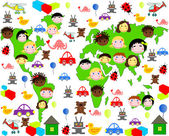 Persons of children of different races on the map of the world with toys — Stock Photo