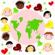 Map of world , faces of children of different races and hearts — Stock Photo #19373159