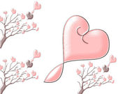 Beautiful brilliant trees with hearts on a white background — Stock Photo