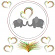 Lovers elephants with hearts in the round frame — Stock Photo #19409663