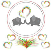 Lovers elephants with hearts in the round frame — Stock Photo