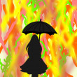 Black silhouette of a girl with an umbrella on abstract bright colorful background — Stock Photo