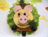 Sandwich - pig snout, food for children — Stock Photo