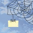 Stock Photo: Spider webs, and letter in envelope in blue sky