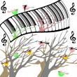 Stock Photo: Trees with birds and original keyboard piano