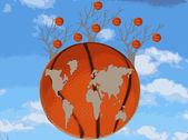 Mappa del mondo è una palla di basket e gli alberi contro il cielo — Foto Stock