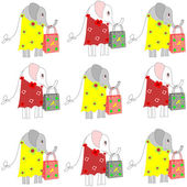 Beautiful background with elephants in dresses with shopping bags — Stock Photo