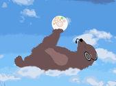Urso feliz é na nuvem com o disco e fones de ouvido — Foto Stock