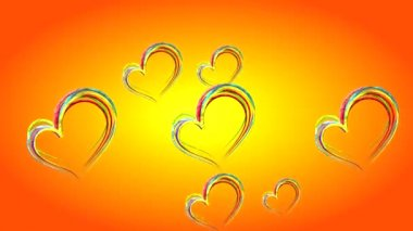 Colorful shiny hearts fly on an orange background — Stock Video