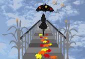 Dziewczyna z parasolem, chodzenie na molo i upadku, liście klonu — Zdjęcie stockowe