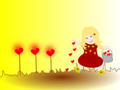 Girl plants hearts in the ground, what goes around will grow — Stock Photo