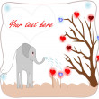 Cute elephant watering seedlings with hearts of love card — Stock Photo