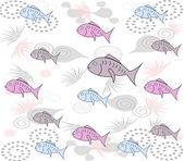 Merry stylish background with fishes, algae on a white backgroun — Foto Stock