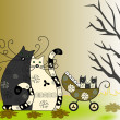 Foto Stock: Happy family, cat, cat and kittens in wheelchair