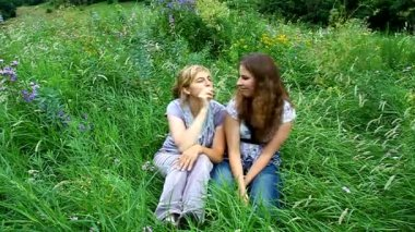 Cheery and amusing mother and daughter fun with spikelets in the mouth on a green meadow — Stock Video