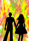 Loving couple man and woman on abstract bright colorful backgrou — Stock Photo