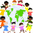 Children of different races around the map of our planet green — Stock Photo #43962531