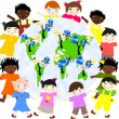 Children of different races around the map of our green planet w — Stock Photo #43962663