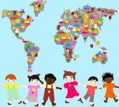 Crianças de diferentes raças com brinquedos, brinquedos do planeta-planeta para ch — Fotografia Stock