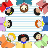 Children of different races reading books and sit in a circle on — ストック写真