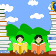 Asian children sit among piles of books and reading on the sky b — Stock Photo #48095493