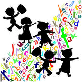 Silhouettes of children and students with portfolios colored Eng — Stock Photo