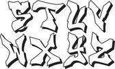 Vector graffiti alphabet part 3 — Stock Vector