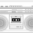 Vector de stock : Vintage cassette recorder, ghetto blaster or boombox. vector