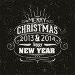 Merry Christmas and happy new year greeting card. typographic design.   vector — Stock Vector