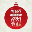 Merry Christmas and happy new year greeting card. typographic design.   vector — Vettoriali Stock