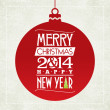 Merry Christmas and happy new year greeting card. typographic design.   vector — Векторная иллюстрация