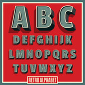 Vector retro type font. Vintage alphabet — Stock Vector