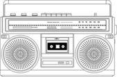Vintage cassette recorder, ghetto blaster or boombox. vector — Stock Vector