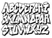 Classic street art graffiti font type. Vector alphabet — Stock Vector