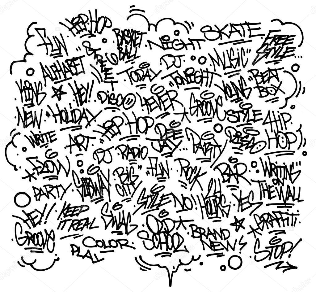Arte urbano y graffiti múltiples etiquetas, lemas, decoraciones. Vector \u2013 Ilustración de Stock