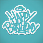 Happy birthday alligraphy label lettering card — Stock Vector