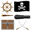 Stock Vector: Set of pirate