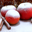 Christmas snowy apples - Stock Photo