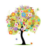 Beautiful floral tree — Vector de stock