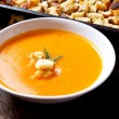Soup with croutons — Stock Photo