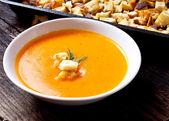 Soep met croutons — Stockfoto