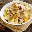 Muesli breakfast with fruits,yogurt and nuts — Stock Photo