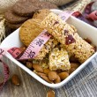 Stock Photo: Muesli bars and almonds,diet concept