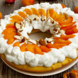 Apricot Tart with Whipped Cream and Flaked Almonds — Stock Photo #26634861