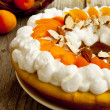 Apricot Tart with Whipped Cream and Flaked Almonds — Stock Photo #26634869