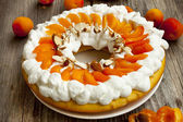 Apricot Tart with Whipped Cream and Flaked Almonds — Stock Photo