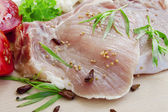 Raw pork chop fillets with spices — Stock Photo