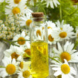Chamomile essence and flowers — Stok Fotoğraf #27390329