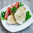 Stock Photo: Grilled chicken breast on white plate